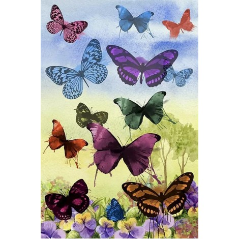 Colored Butterflies | 5D Diamond Painting | Square/Round Drill