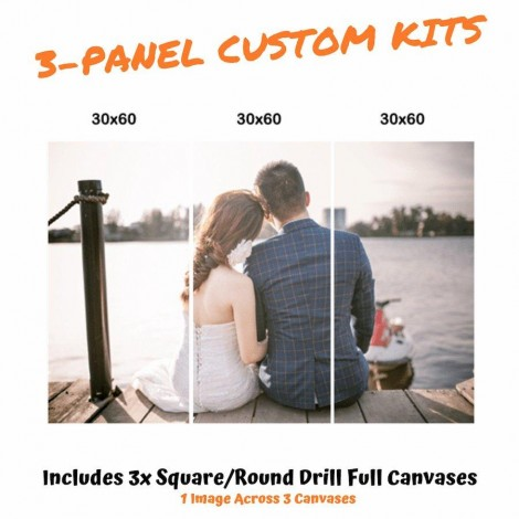 Photo Custom | 3 Panels | Square/Round Diamond