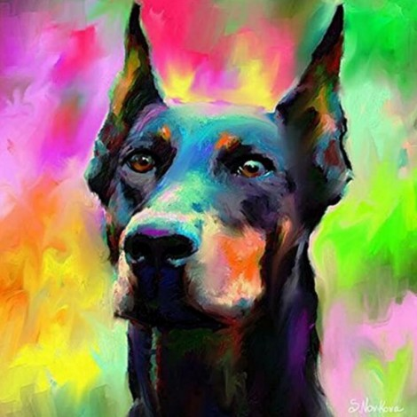 Raimbow Doberman Diamond Painting Kit